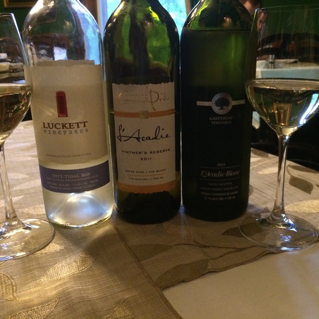 Nova Scotia wines at dinner- Blomidin Inn Wolfville